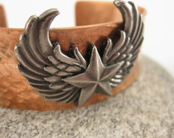 Made to fit you Biker Winged Star Concho Hammered Copper Cuff Bracelet. Free shipping to US locations, reduced rates to all other countries.