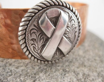 Made to fit you  Round Rope Edge Ribbon  Concho Hammered Copper Cuff.  Free shipping to US locations, reduced rates to all other countries.