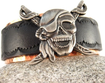 Made to fit you  Pirate Concho Leather & Copper Cuff.  Free shipping to US locations, reduced rates to all other countries.