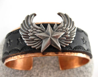 Made to fit you  Biker Winged Star Concho Leather Copper Cuff.  Free shipping to US locations, reduced rates to all other countries.