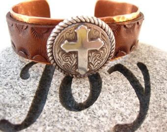 Made To Fit You Silver Cross Concho Leather and Copper Cuff Bracelet. Free shipping to US locations, reduced rates to all other countries.