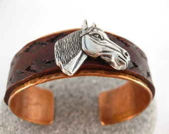Made to fit you  Horse Head Concho Leather and Hammered Copper Cuff. Free shipping to US locations, reduced rates to all other countries.