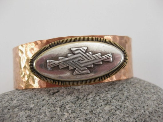 Made to fit you  Reata  Concho Hammered Copper Cuff Bracelet.  Free shipping to US locations, reduced rates to all other countries.