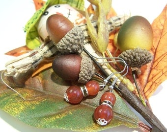 Double Carnelian and Crystal Earrings
