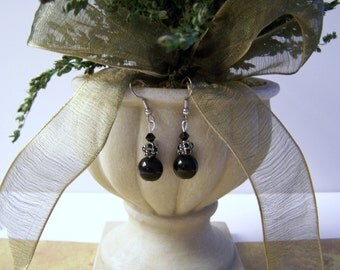 Black as Pitch Crystal Ball Earrings