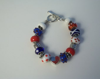 Patriotic Large Hole Beaded Bracelet