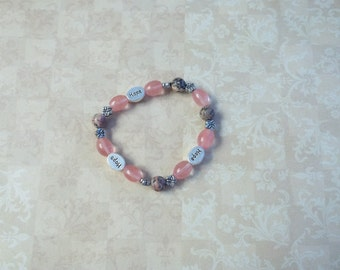 Pink Hope Charmed Stretch Bracelet