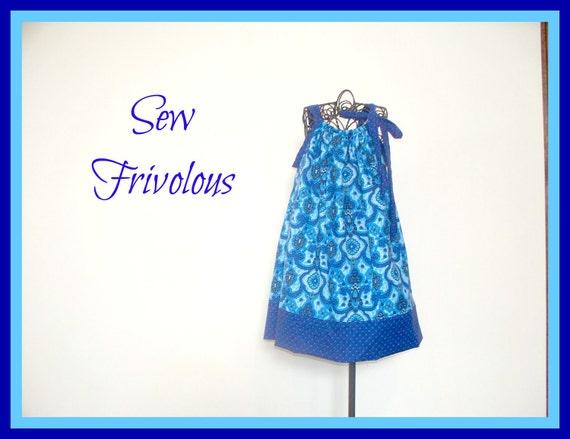 Girls Pillowcase Dress Toddler Blue on Blue available in sizes 1t 2t 3t 4t 5t 6 7 8 Sundress