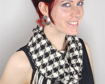 "Hand woven scarf woven silk fashion scarf handwoven  scarves: ""Manhattan Houndstooth"" - Handwoven Scarf"