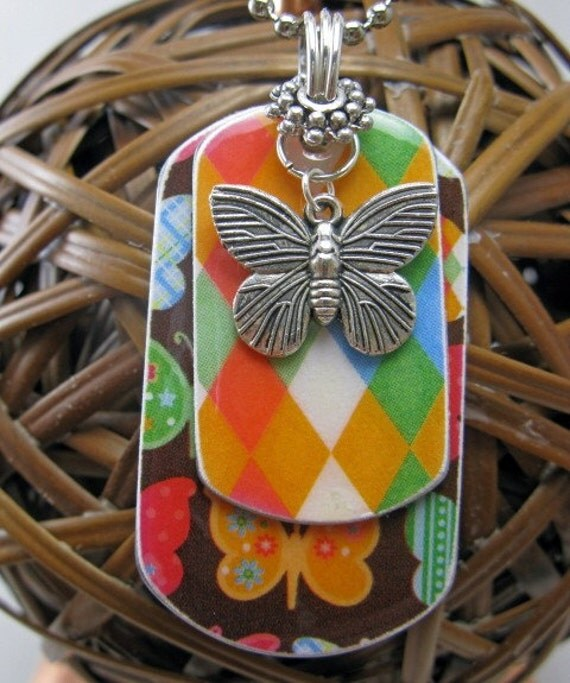 Butterfly Argyle Layered Dog Tag Necklace