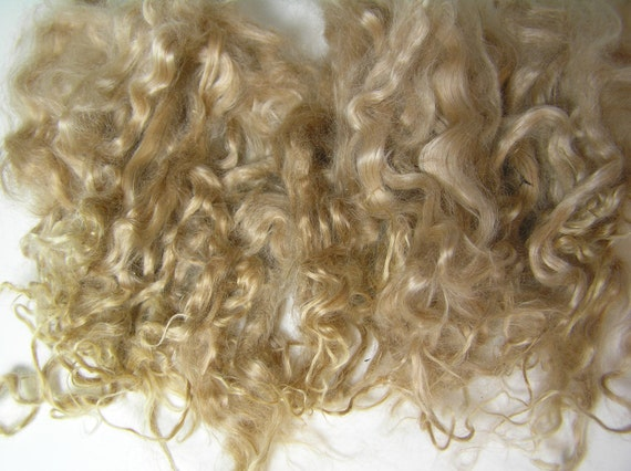 "Suri Alpaca Locks, Medium Fawn, Washed, 2oz, 7""Average Length"