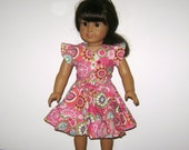18 Inch Doll Clothes American Girl Pink and Green Circles Print Skirt and Blouse