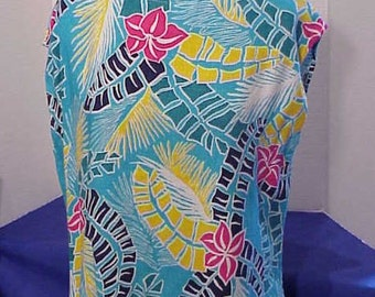 Turquoise Tropical Blouse - size 12-14