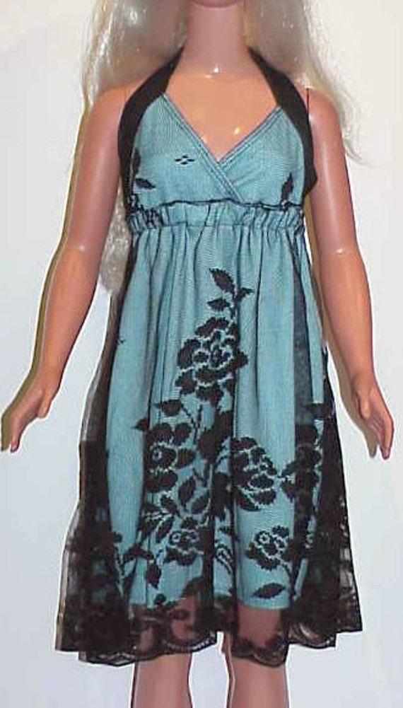 Custom order for maryhelencook60 - My Size Barbie Aqua and Black Lace Halter Dress