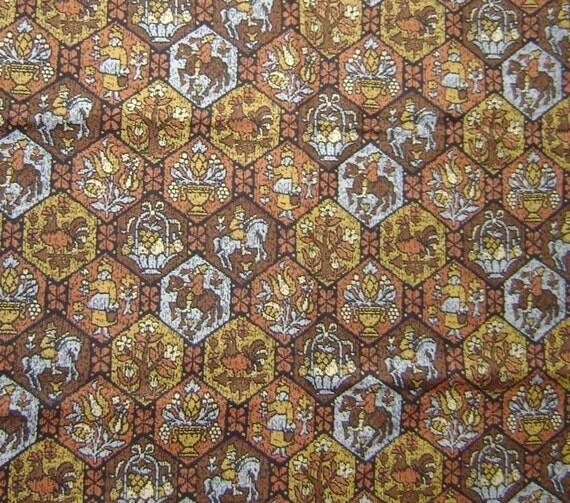 Vintage - Olde English Hexagon Design Fabric - Destash - 1 yard 3 inches