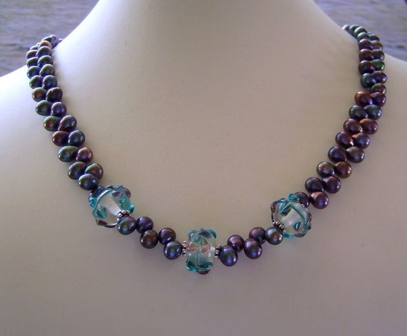 Peacock Blue Top-Drilled Pearls Necklace with Three Beautiful Hand Lampwork Glass Beads
