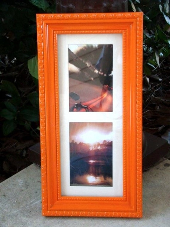 bright orange vintage style picture frame 5x12 or 3x5 other. Black Bedroom Furniture Sets. Home Design Ideas