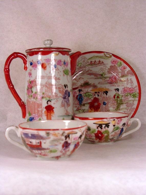 antique geisha girl china tea set. Black Bedroom Furniture Sets. Home Design Ideas