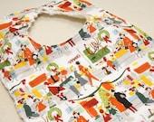 Merry Main Street- Infant or Toddler bib - Adjustable snaps - reversible