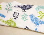 Winter Birds- Set of 12 wipes - flannel and OBV - SOFT - 8x8 size
