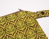 Green Leaves- 12x12 Sweet Bobbins Wet Bag - SEAM SEALED - Snap Strap - Boutique Quality