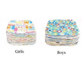 Sweet Bobbins Cloth Wipes Starter Set of 15 wipes - OBV and Flannel - 8x8