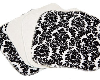 Mod Damask - Set of 4 wipes - flannel and OBV - SOFT - 8x8 size
