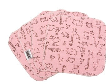 Animal Outlines -Pink-  Set of 4 wipes - flannel and OBV - SOFT