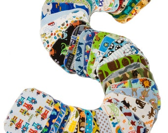 Sweet Bobbins Cloth Wipes - Boys Starter Set - 20 wipes - flannel and OBV - SOFT - 6x8 size