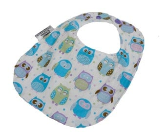 Purple Owls - Infant or Toddler Bib - Terry Cloth Backing - Reversible with ADJUSTABLE Snaps