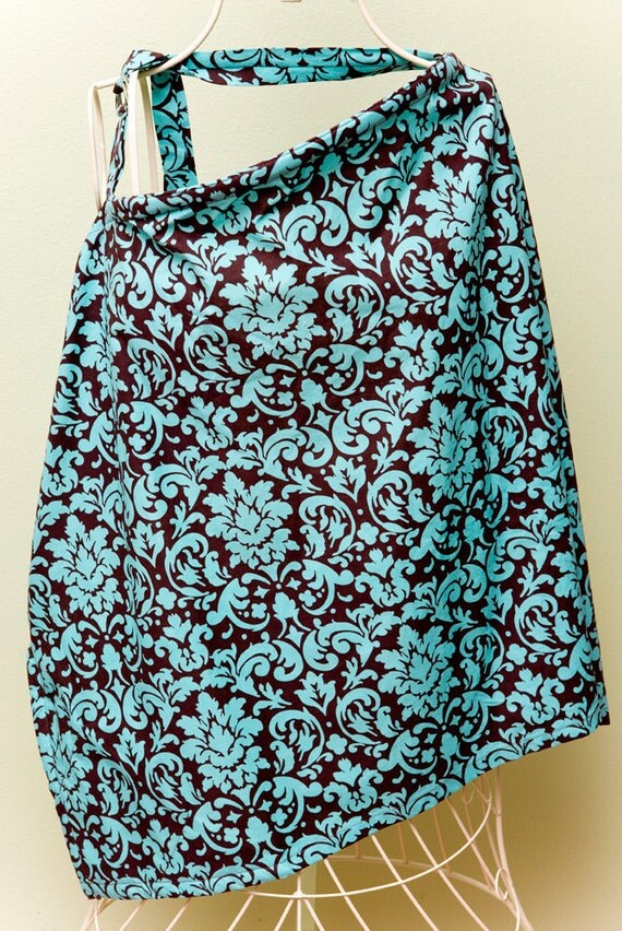 Couture Mama Nursing Cover - Turquoise Damask - Plus a FREE set of Hooter Soothers Washable nursing pads