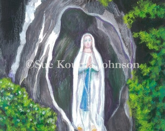Our Lady of Lourdes - Catholic Art Print - Archival - Patron of the Sick