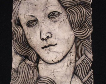 Woman's Face Ceramic Pottery Female Sculpture Tile