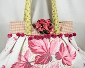 Paris Shabby Chic Pleated Bag Vintage Tablecloth Vintage Inspired - OOAK