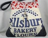 RESERVED FOR SUZI - Repurposed Upcycled Flour Sack Bag Tote Bag Denim Trim Retro Red Polka Dot Fabric