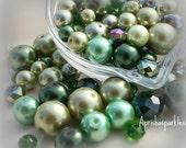 "Glass Pearls Glass Rondelle Bead Designer Mix  Bead Supply Bead Soup ""Grasshopper""  (90pcs)"