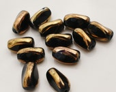 Nugget Black and Gold  3 Sided Rice Czech Glass Bead 12x8mm (Qty 12)