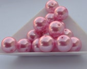 12 Pastel Pink Glass Pearls 14mm Faux Pearl Glass Bleads Pearl Finish Bead Supply GP00216  ID