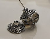 Bead Cap-4 Pack Filigree Skirt 18mm Large Antiqued Silver Plated Pewter  ID