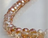 Faceted Rondelle Crystal Beads Two Tone Shimmer Apricot and Clear AB 8x6mm (Qty 12) Rondelle Faceted Rondelles  ID