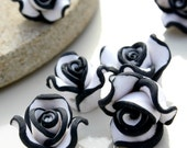 FIMO Polymer Clay 15x15x9mm Drilled Flat Back White and Black Bead (6)  ID