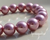 Glass Pearl 10mm Rose Bead 14 beads Faux Pearl Glass Bleads Pearl Finish Bead Supply GP0024  ID
