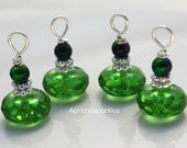 Bead Dangle Supply- Wire Wrapped 12x6mm Bottle Green Rondelles and 4mm Two Tone Metallic Glass Rounds-Silver Plated(4)
