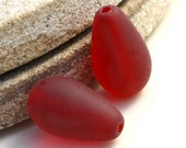 Red Sea Glass Teardrop 16x10mm Length Drilled Beads (2)  ID