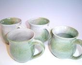 Mint Green Mugs - SET of 4 - handmade ceramic pottery mug, food safe glaze, white, mint green, coffee cup, teacup
