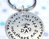 Handstamped Keyring - Dad's keyring - Quote stamp for him
