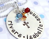 Personalized Hand Stamped Necklace - Women charm jewelry - birthstone charms