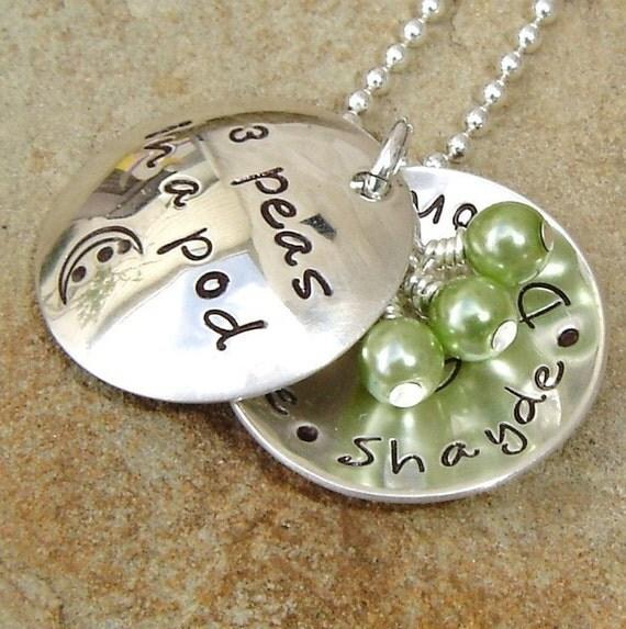 3 Peas In A Pod - Domed Pods - Custom Boutique Children's Name Handstamp Necklace