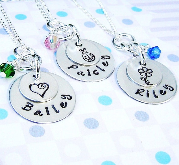 Hand stamped flower girl necklace with ladybug, flowers, heart or your favorite symbol and a birthstone