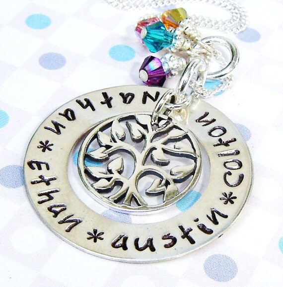 Mommy necklace - family tree charm necklace - Handstamped Jewelry charm up to 4 names